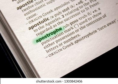 Apostrophe word or phrase in a dictionary.