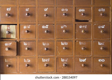 Apothecary cabinet drawers isolated clipping path, Box Theater risk in Thailand.