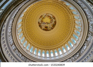 Apothesis of George Washington, Rotunda US Capitol Dome Washington DC Painted by Constantino Burundi 1865