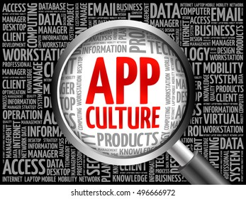 App Culture word cloud with magnifying glass, business concept 3D illustration