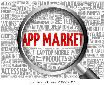 APP Market word cloud with magnifying glass, business concept 3D illustration