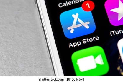 App Store, iTunes icon apps on the screen iPhone. App Store is a digital distribution service for mobile apps on iOS platform, developed by Apple Inc. Moscow, Russia - October 25, 2020