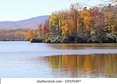 An Appalachian Mountain lake just off the Blue Ridge Parkway in North Carolina in October.
