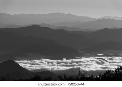 Appalachian mountains with clouds in the valley black and white