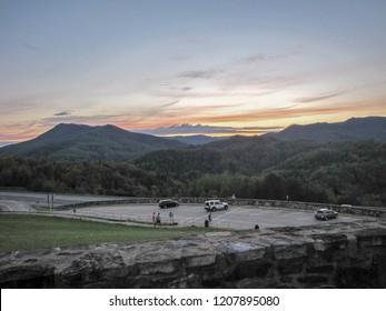 Appalachian mountains overlook at sunset.