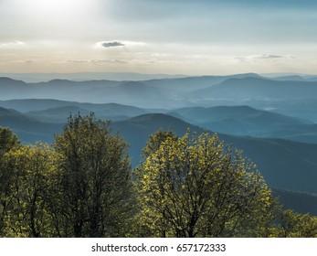 Appalachian Mountains in Virginia during evening along Blue Ridge Parkway