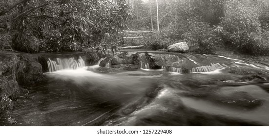 Appalachian River in Winter Mist, Black and White.  This is the Chattooga River in North Carolina.