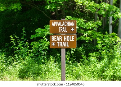 Appalachian Trail Bear Hole Sign Post