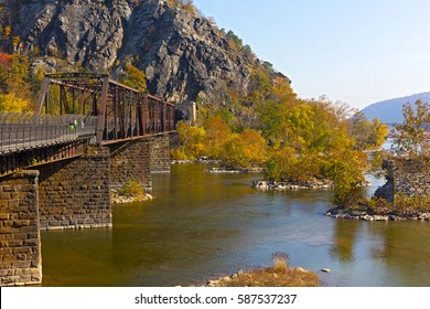 Appalachian trail crossing Shenandoah River in Harpers Ferry. Colorful autumn landscape from a scenic outlook in West Virginia, USA.