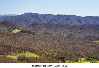APPALACHIAN TRAIL NEAR ROANOKE, VIRGINIA - APRIL 8, 2017 - View of mountain ridges from the Dragon's Tooth, a day hike destination along the Appalachian Trail north of Roanoke, Virginia