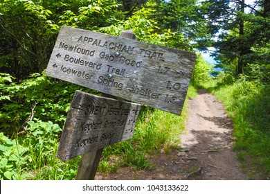 The Appalachian Trail. Path in the woods and wooden signs in Great Smoky Mountains National Park in Tennessee.