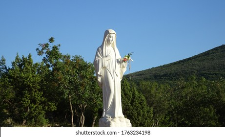 the Apparition hill .Blessed Virgin Mary Statue