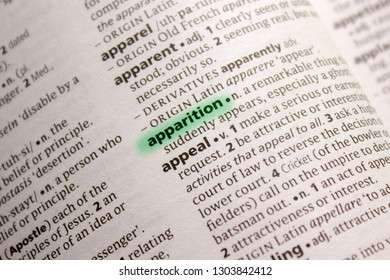 Apparition word or phrase in a dictionary.
