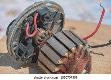 An appearance inside of the old brushed DC motor. Shows the image components, such as Rotor/Armature, Copper Windings, Commutator, and Carbon Brush.