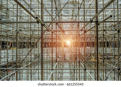 The appearance of scaffold building and interior decoration , workers at the construction site