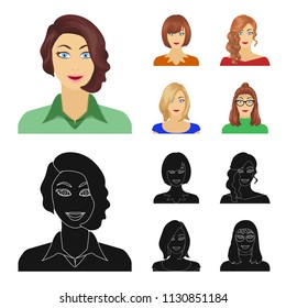 The appearance of a woman with a hairdo, the face of a girl. Face and appearance set collection icons in cartoon,black style bitmap symbol stock illustration web.
