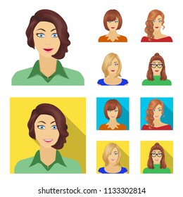 The appearance of a woman with a hairdo, the face of a girl. Face and appearance set collection icons in cartoon,flat style bitmap symbol stock illustration web.