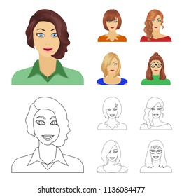 The appearance of a woman with a hairdo, the face of a girl. Face and appearance set collection icons in cartoon,outline style bitmap symbol stock illustration web.