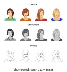 The appearance of a woman with a hairdo, the face of a girl. Face and appearance set collection icons in cartoon,outline,monochrome style bitmap symbol stock illustration web.