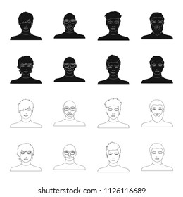The appearance of the young guy, the face of a bald man with a mustache in his glasses. Face and appearance set collection icons in black,outline style bitmap,raster symbol stock illustration web.