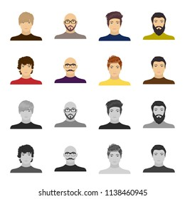 The appearance of the young guy, the face of a bald man with a mustache in his glasses. Face and appearance set collection icons in cartoon,monochrome style bitmap symbol stock illustration web.