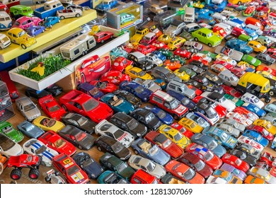 Appelscha, The Netherlands - June 23, 2018: Flea market with stand selling second hand toy cars