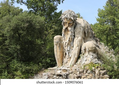 The Appennine Colossus was sculpted by Giambologna in the 16th century, it is located in the renaissance park of Villa Demidoff near Florence in Tuscany, Italy.