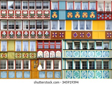APPENZELL, SWITZERLAND- JUNE 29, 2015: Collage of the ancient unique painted windows in historic medieval old town. Appenzell is well-known for its colourful houses with painted facades.