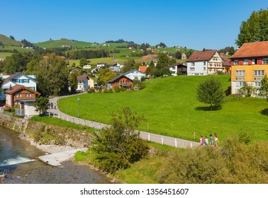 Appenzell, Switzerland - September 20, 2018: the town of Appenzell in autumn. The town of Appenzell is the capital of the Swiss canton of Appenzell Innerrhoden.