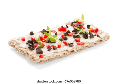 Appetiser toast with cheese, red bell pepper, olives and thyme. Healthy food, vegan or diet nutrition concept.