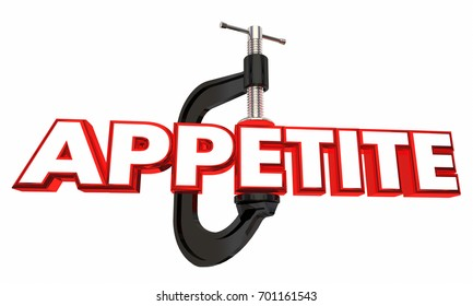 Appetite Clamp Reduce Hunger Diet Word 3d Illustration