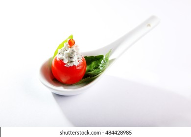 appetizer with cherry tomatoes for buffet on white background