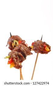 Appetizer Finger food with meat on sticks