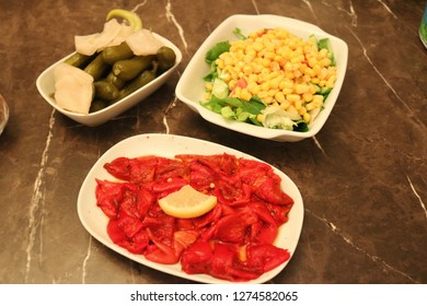 appetizer menu for dinner.It is including aubergine,pepper and corn salad.