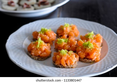 appetizer with smoked salmon and lemon