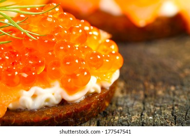 Appetizers, caviar on pumpernickel