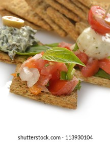 Appetizers With Crackers,Dip ,Vegetables And Mozzarella Cheese