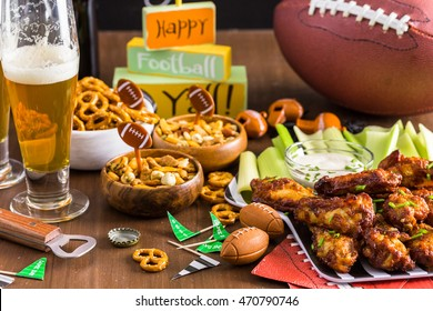Appetizers on the table for the football party.