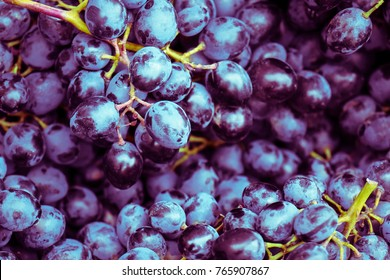 Appetizing background image of healthy antioxidants,  flavonoids and vitamines B and C in yummy ripe purple blue grapes of red vine fruit (Vitis Vinifera) from traditional winter Christmas food market