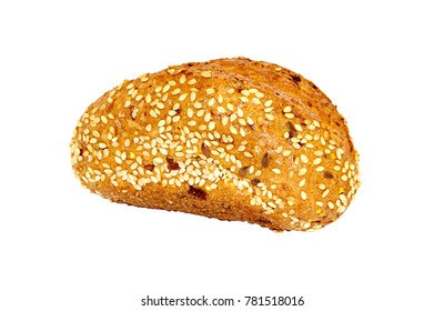Appetizing baked bun with whole grains and sesame seeds isolated on white background