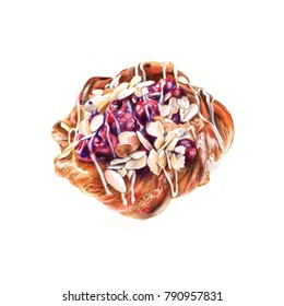 Appetizing bun with cherry and almonds. Puff pastries. Watercolor illustration