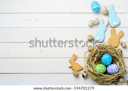 Appetizing Bunny Cookies Bright Easter Eggs Stock Photo Edit Now