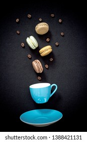 Appetizing colored macarons in funny style, top view