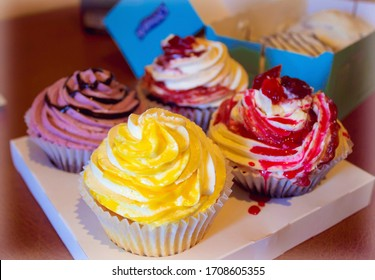 Appetizing colorfull cakes on the table