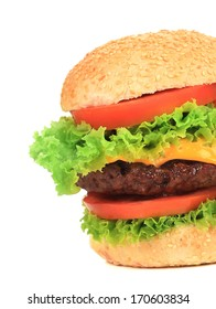 Appetizing fast food hamburger. Close up. Whole background.