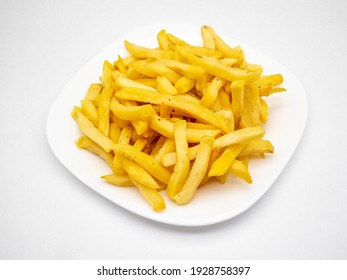 An appetizing french fries on a plate against a white background