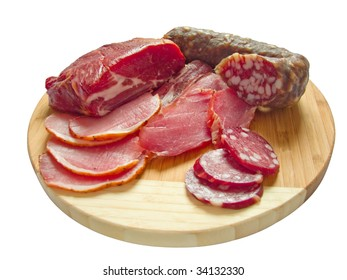Appetizing fresh meat and sausage - an excellent snack!