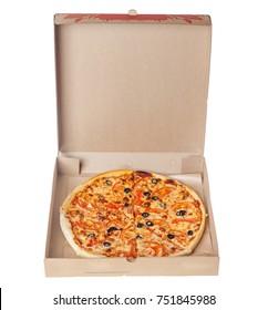 Appetizing Italian pizza margarita in box isolated on white