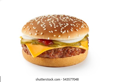 Appetizing mouth-watering cheese burger isolated on white. Classic burger