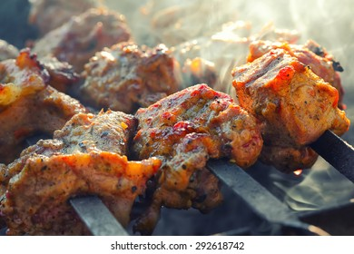 appetizing pieces of roasted meat on the fire. Smoky background